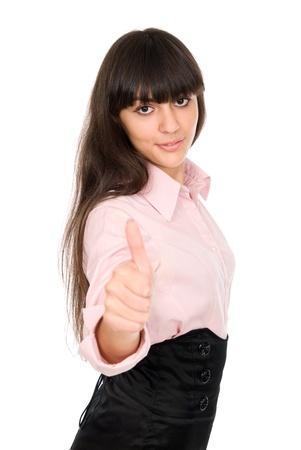 Young beautiful business woman showing thumbs up gesture, isolated over white background Stock Photo - 15484221