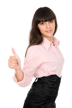 Young beautiful business woman showing thumbs up gesture, isolated over white background Stock Photo - 15484203