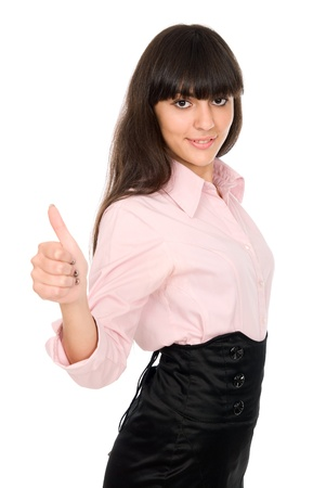 Business woman shows thumb. isolated over white background Stock Photo - 15484200