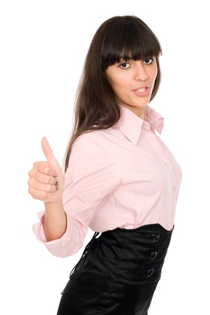 Business woman shows thumb. isolated over white background Stock Photo - 15484204