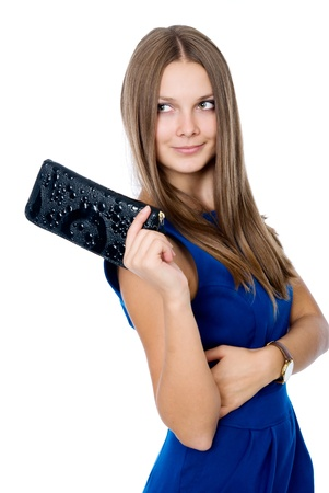 A beautiful woman with a black purse  isolated on white background