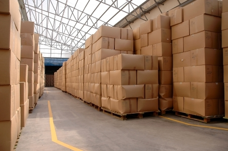 Modern warehouse with cardboard cartons ready to ship Stock Photo - 15885864