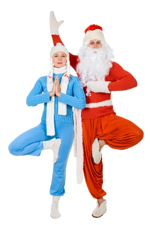 Santa Claus and the Snow Maiden of yoga. Isolated on white Standard-Bild