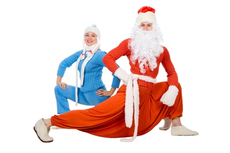 Santa Claus and the Snow Maiden of yoga. Isolated on white.Smile photo