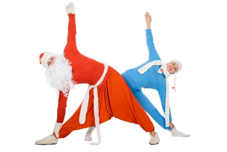 Santa Claus and the Snow Maiden of yoga. Isolated on white.Side bends photo