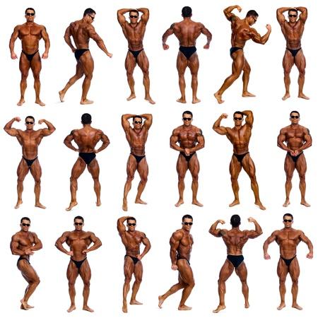 alba�il: Atractivo cuerpo masculino constructor, lo que demuestra concurso 18 pose, aislado en fondo blanco