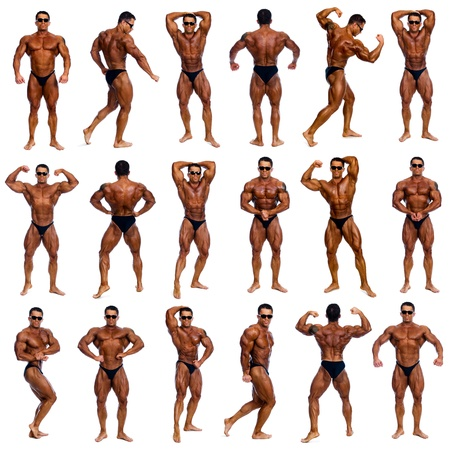 Costruttore di corpo maschio attraente, dimostrando concorso 18 posa, isolato su sfondo bianco