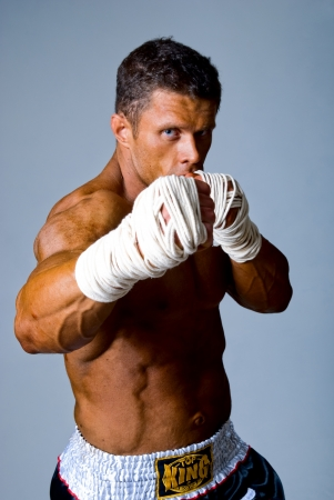 Portrait of the fighter. Isolated. Kickboxing or muay thai