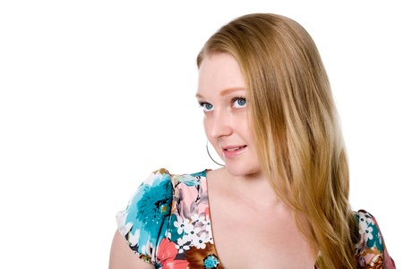 hesitations: Portrait of pensive girl. Looks away. Isolated on white background