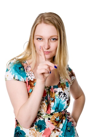 Beautiful girl dissatisfied threatening finger. Isolated on white background Stock Photo - 18944719