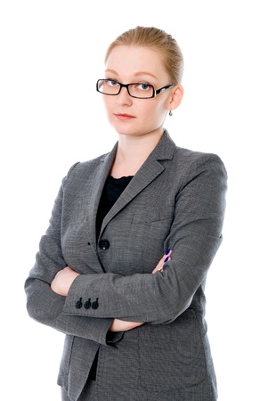 careerists: Portrait of beautiful young business woman over white background Stock Photo