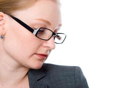 careerists: Close-up portrait of a pensive woman with glasses office. Isolated on white background