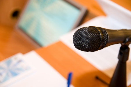 Microphone on the table in the conference room. photo