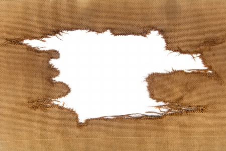 background of burlap with a white hole for writing text. advertising banner