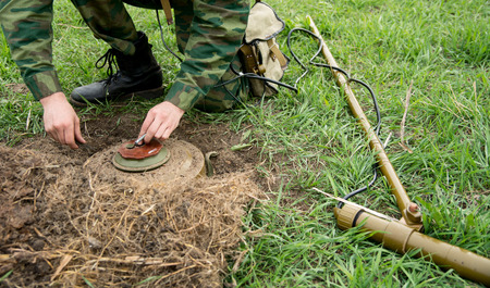 landmine: Minesweeper with a mine detector mine neutralizes.