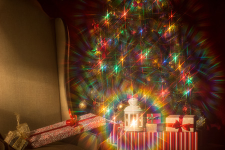 attachments: Christmas interior with Christmas tree and. spectacular attachments. Stock Photo