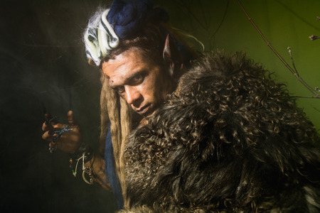 Close-up of a werewolf with a skin on his skin. photo