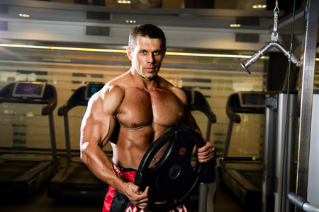 weightlifter: Handsome muscular man in the gym. Weightlifter with the disc. Muscle training, fitness