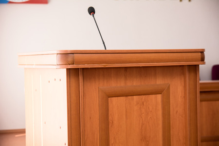 public address: Podium with microphone in the hall for speaker.