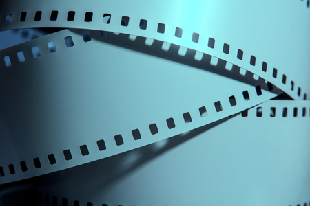 film industry: Three strips of negative films. Photographic film. Stock Photo