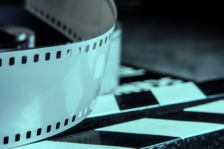 film shooting: Photographic film. Movie clapper for shooting Films.