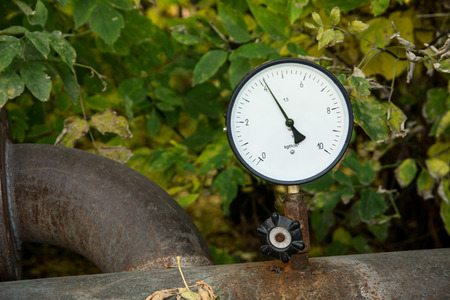 transducer: Pressure sensor hot water against the leaf outdoors.