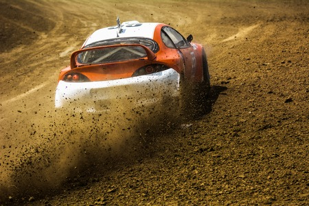 super cross: Cars on the autocross. Racing in the open air with dust. Stock Photo