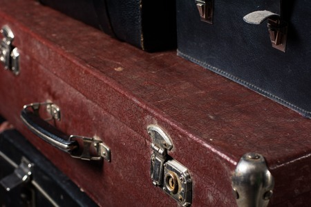 secondhand: Close-up of a suitcase Traveler iron lock vintage bag. Place of storage Stock Photo