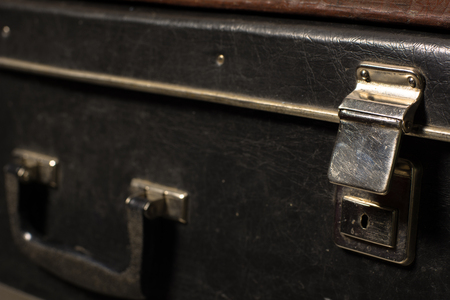 duffel: Close-up of a suitcase. Iron Castle vintage bag. Place of storage Stock Photo