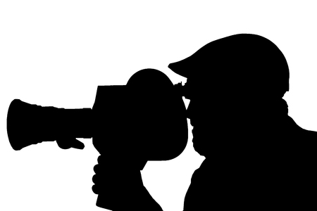 Silhouette of a bearded man in the side of the camcorder. cinema operator cap documentary TV photo