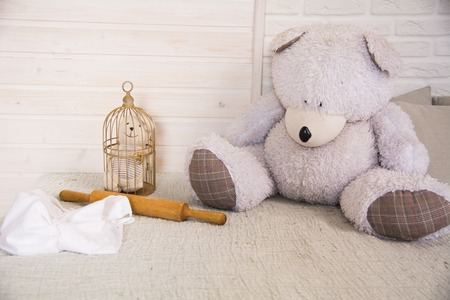 Teddy bear sitting on a bed next to a caged little bear against a light wall background