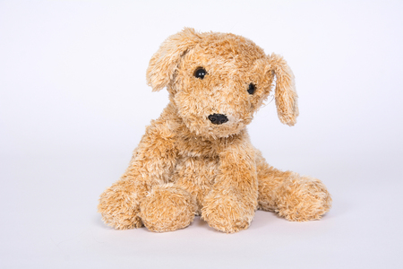 Soft toy doggie isolated on light background. Banque d'images - 118652913