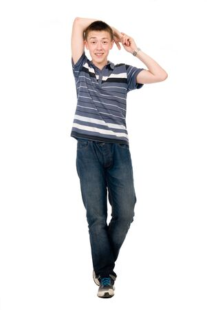 Cheerful young man in full growth isolated over white background.