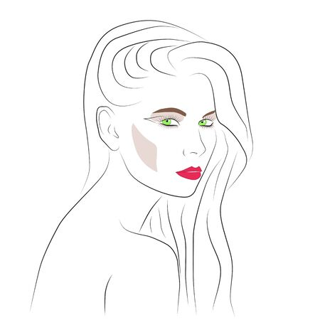 Beautiful woman face with nude make-up hand drawn vector illustration. Graphic, sketch drawing. Stylish original graphics portrait with beautiful young attractive girl model