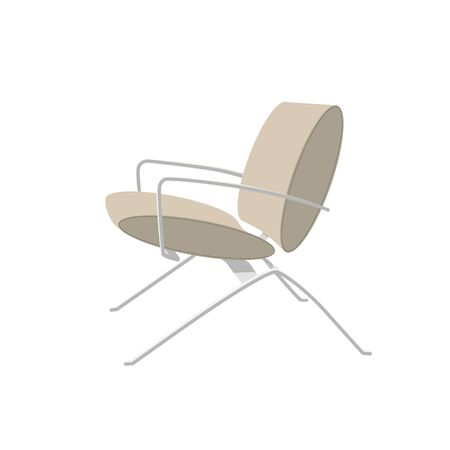 Modern leather-covered office chair with metal legs. Beige chair vector illustration isolated