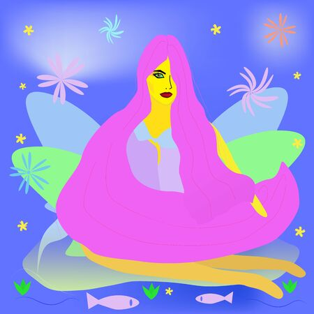 Fantastic illustration of a woman with long pink hair on a magical blue background. A young girl relaxes