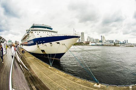 Yokohama skyline and luxury liner (Celebrity Millennium)