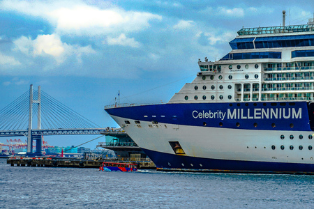 Luxury liner and (Celebrity Millennium) water bus and the Bay Bridge Editorial
