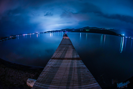 Pier of Lake Yamanaka of night