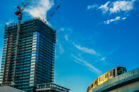 High-rise apartment and black-headed gulls in construction Editorial