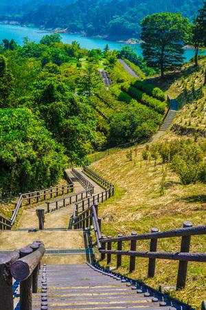 Miyagase Dam and Gen Torii lakeside garden (Kanagawa) Stock Photo