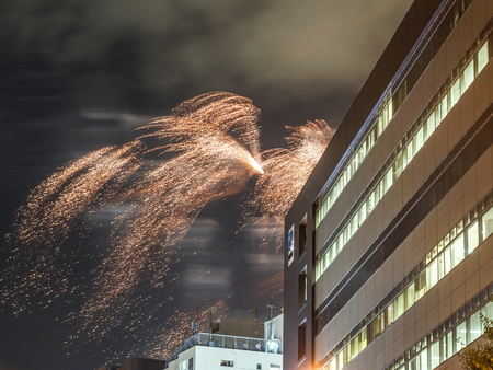 Fireworks visible from the valley of the building