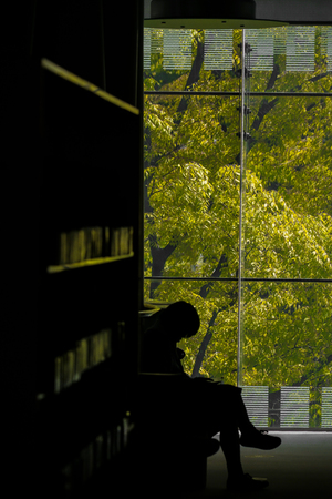 Library and men background.