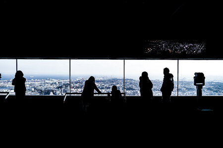 Silhouette of the observatory and the people of Landmark Tower