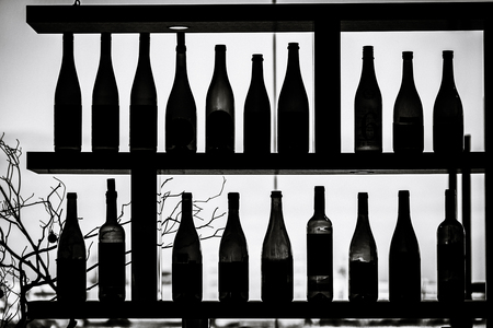 A lot of wine bottle silhouette 版權商用圖片