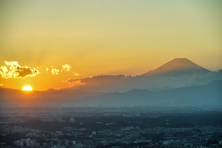 Yokohama city and Mount Fuji and dusk