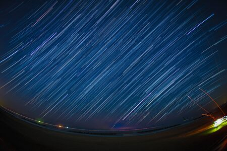 Starry sky visible from Sendai Arahama coast Stock Photo