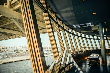Yokohama Port visible from Yokohama Bay Bridge Skywalk Banco de Imagens