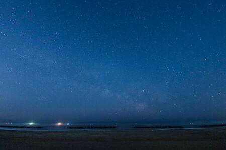 Starry sky visible from Sendai Arahama coast Imagens