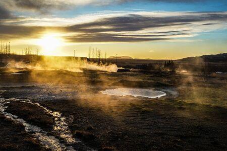 Scenery and sunrise of Iceland Geysir